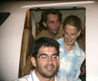 Nurse Laura Archer, doctor Mauro D'Ascanio and coordinator Raphael Meunier (top) arrive at Khartoum Airport REUTERS/Mohamed Nureldin