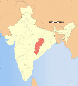 Chhattisgarh Location on Map of India via Wikipedia
