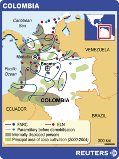 Columbian Displacement Map via Reuters