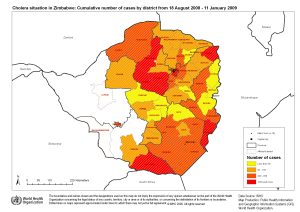 Zimbabwe Cholera Map via World Health Organization